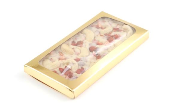Шоколад белый ванильный с клубникой и орехом кешью от Натальи Слепневой, 80 гр.