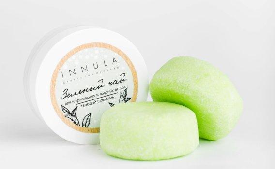 Шампунь твердый Зеленый чай для нормальных и жирных волос от Инны Асадуллиной, 50 гр.