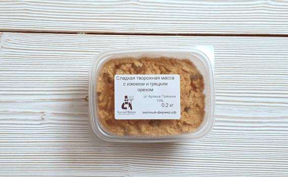 Творожная масса из топленого творога с изюмом и грецким орехом от Артема Пряхина 15%, 0,2 кг
