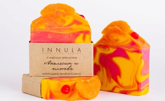 Мыло ручной работы Апельсин и клюква от Инны Асадуллиной, 70 гр.